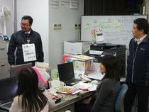 ボラセンにて(左より、吉元さん、兵藤さん、朝枝さん、中島さん)