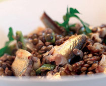 Lentils with smoked fish