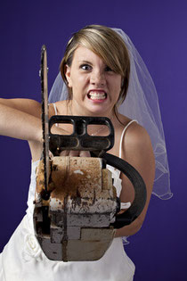 Orlando bride with a chainsaw