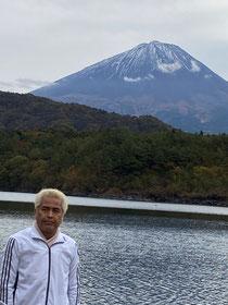 西湖から見た富士山♪まだ雪はあんまり無いね。
