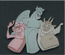 Die Chimären 'Laverne', 'Victor' und 'Hugo' (v.l.n.r.) aus dem Zeichentrickfilm Der Glöckner von Notre Dame.
