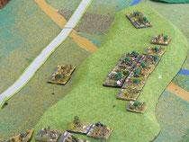 Das erste Regiment geht auf einem Hügel in Stellung