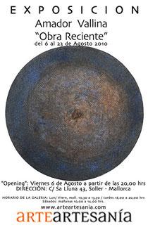 """Amador Vallina: Exposición """"Obra Reciente"""", ArteArtesanía, Sóller, Mallorca"""