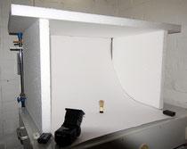 Styropor-Box zur schattenfreien Ausleuchtung
