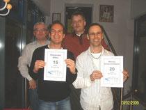 Joachim Walikewitz und Markus Braun-Zimmerer wurde für 20 Jahre Mitgliedschaft im Zäpfle-Team, Alex Wilks für 15 Jahre geehrt