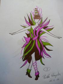 Entwurf Kleid aus Schokolade
