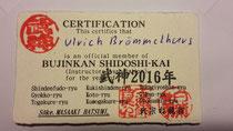 Mitgliedskarte im Shidôshi-Kai des Bujinkan Honbu Dôjô in Japan