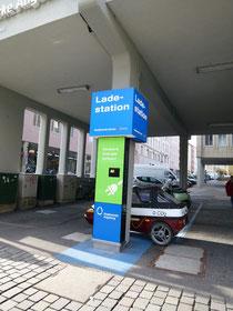 E Tankstelle im Zentrum von Augsburg der Stadtwerke