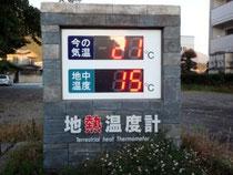 地中熱の温度計。気温が変わっても地中の温度はほとんど変わらない。(河口湖町で撮影)