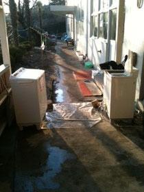 避難所では洗濯機がフル回転