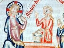 Jesus und die Samariterin, kolorierte Federzeichnung, Österreich um 1350