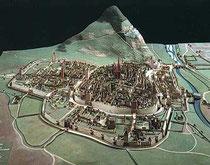 Modell der Stadt Freiburg um 1590 mit Stadtmauer und Tortürmen. Museum für Stadtgeschichte, Freiburg