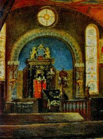 Ölgemälde von Hans Schmidt, im Besitz der Familie Levy, Boston (USA) - Mit freund. Genehmigung aus: Otto Werner: Synagogen und jüdischer Friedhof in Hechingen. Hechingen 1996, Seite 187