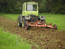 Damit die eingesäten Kräuter sich etablieren können, muss offener Boden geschaffen werden. Die Grasnarbe schließt sich aber rasch wieder (Bilder: Ute Köhler)