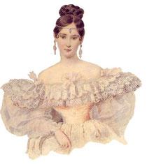 А. П. Брюллов. Портрет Н. Н. Пушкиной. 1831-1832 г. Бумага, акварель.