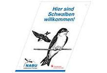 """Plakette """"Schwalben willkommen!""""."""