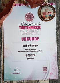 BRONZE in der Kategorie Miniaturtorte Essen 2018
