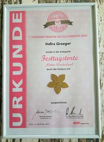GOLD in der Kategorie Festtagstorte in Wien 2017
