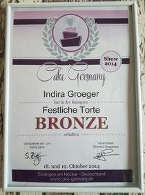 BRONZE in der Kategorie festliche Torte in Esslingen 2014