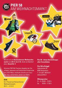 Besuch uns am Weihnachtsmarkt in Romanshorn und entdecke neue FREITAG Taschen, LEGO Kleider für Deine Kinder, Crocs und Joya Schuhe und vieles mehr.