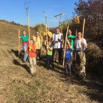 Mit viel Spaß bei der Sache - Wiesenpflege beim NABU Bad Kreuznach und Umgebung