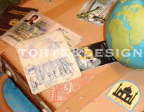 valigia, passaporti, torta, globetrotter, mappamondo, globo, suitcase, luggage, globe, earth