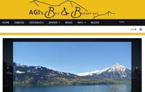 Blick von AGI's Bed & Breakfast über den Thunersee in die Berner Alpen