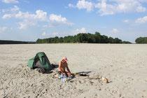 Sandbankcamp am unteren Po