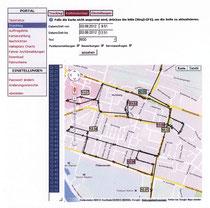 Kartografisch aufbereitetes Bewegungsprofil einer Taxe, wie es der Fahrzeughalter jederzeit sehen kann. (Fiktive Daten, Stand März 2013)
