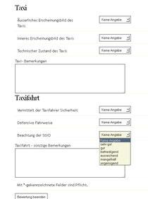 """Der Taxi-Ruf Bremen belohnt Kunden bei der personenbezogenen Denunziation, hier: Bewertung """"Einhaltung der StVO"""" in Schulnoten von 1 bis 6."""