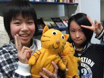 Kahoちゃん、Asakaちゃんと猫のサミー