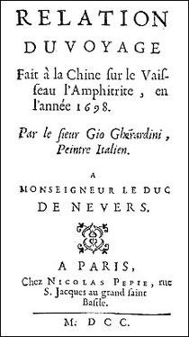 Couverture de : Giovanni Baptista Gherardini (1652?-1723) : Relation du voyage fait à la Chine sur le vaisseau l'Amphitrite, en l'année 1698