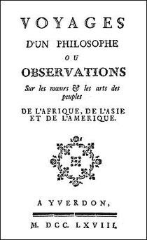 Couverture. Pierre POIVRE (1719-1786) : Voyages d'un philosophe, ou Observations sur les mœurs & les arts des peuples de l'Afrique, de l'Asie et de l'Amérique. —  Yverdon, 1768.