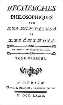 Couverture. Cornelius de Pauw (1739-1799) : Recherches philosophiques sur les Égyptiens et les Chinois Decker, Imprimeur du Roi, Berlin, 1773.