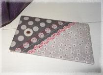 Porte chéquier portefeuille violet à pois blancs, liberty et plumetis turquoise