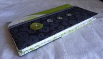 Porte chéquier portefeuille vert pomme et gris anthracite