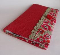 Porte chéquier portefeuille rouge corail et liberty grandes fleurs