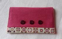 Porte chéquier portefeuille rose et coton imprimé vintage
