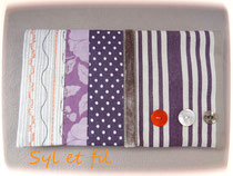 Porte chéquier rayé orange et violet