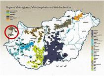 Ungarn Karte Weinbaugebiete hervorgehoben Sopron