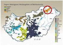 Ungarn Karte Weinbaugebiete hervorgehoben Tokaj
