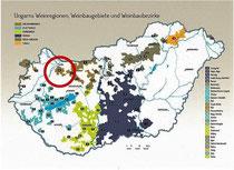 Ungarn Karte Weinbaugebiete hervorgehoben Pannonhalma