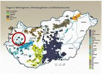 Ungarn Karte Weinbaugebiete hervorgehoben Somlo