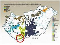 Ungarn Karte Weinbaugebiete hervorgehoben Villany