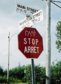 Verkehrsschild in der Provinz Québec, Mistissini