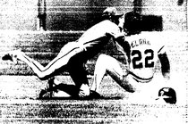 Manny Trillo tags out Jack Clark, who tried to advance on a passed ball.