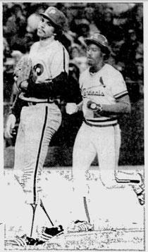 Bob Walk looks helplessly as Garry Templeton scores following a wild pitch.
