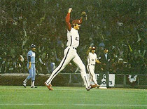 Ron Reed celebrates after recording the save in the Phils' win in Game 2.