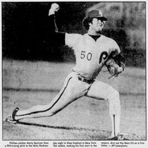 In his first major leage start, Marty Bystrom scattered five hits to blank the New York Mets.