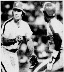 Pete Rose tags out Rondell White in the 7th.